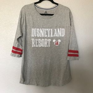 Disney Park 3/4 sleeve; size large; gray top